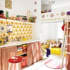 retro kid's room on www. Baby Decor, Kids Decor, Inspiration For Kids, Room Inspiration, Ferm Living Wallpaper, Deco Retro, Piece A Vivre, Kids Corner, Kid Spaces