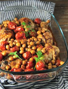 Spiced chicken with cherry tomatoes and chickpeas.