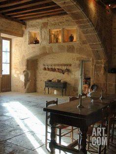 Medieval Kitchen, Chateau de Pierreclos, Burgundy, France Photographic Print by Lisa S. Engelbrecht at Art.com