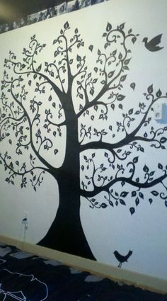 A tree I painted on our bedroom wall