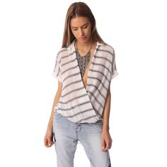 White short sleeve drape wrap blouse with blue striped design – Fashion Gal Freedom