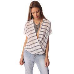 White short sleeve drape wrap blouse with blue striped design – Fashion Gal Freedom