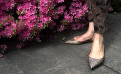 Flower&Glitter Pointy Flats, Glitter, Booty, Ankle, Flower, Pink, Shoes, Fashion, Moda