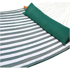 Amber Home Goods Quilted Hammock Green/White Stripe