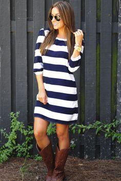 Stripe Me Down Dress: Navy/White