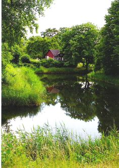 cottage by a pond in southern Sweden