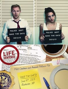 """Life sentence"" themed Save The Date!"