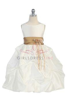 Taupe Sleeveless Taffeta Pick Up Bubble Hem Flower Girl Dress G2740TP $42.95 on www.GirlsDressLine.Com