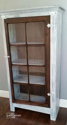 How to make a DIY tall window cabinet out of spare parts and an old window. Step by step directions to build and paint a window cabinet using a Finish Max. (building furniture how to paint) Refurbished Furniture, Repurposed Furniture, Rustic Furniture, Furniture Makeover, Diy Furniture, Furniture Stores, Furniture Plans, Antique Furniture, Timber Furniture
