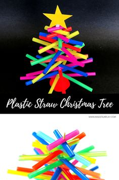 To make this very simple Christmas tree, all you need are bright-coloured plastic straws, a wooden skewer, Play-Doh, and a toilet roll. Preschool Christmas Crafts, Christmas Crafts For Kids To Make, Christmas Tree Crafts, Cool Christmas Trees, Fun Crafts For Kids, Craft Activities For Kids, Christmas Activities, Christmas Decorations To Make, Kids Christmas