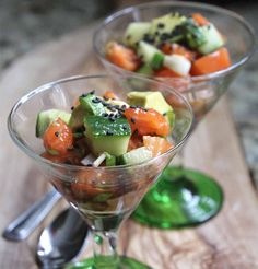 Appetizer - Soy Sesame Salmon Tartare with Avocado #saveur #dinnerparty