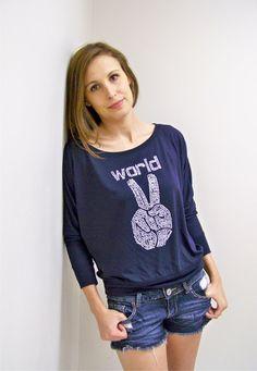 World Peace / Womens Flowy LongSleeve Off Shoulder by RCTees, $30.00