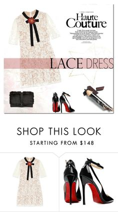 """Lace Dress!"" by tatajrj ❤ liked on Polyvore featuring Gucci, Posh Girl, Sam Edelman and lacedress"