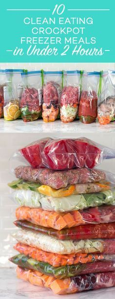 """10 """"Clean Eating"""" Crockpot Freezer Meals in Less Than 2 Hours 