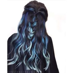 Top-25 Black And Blue Hair Color Ideas ❤ liked on Polyvore featuring hair, blue hair accessories and long hair accessories
