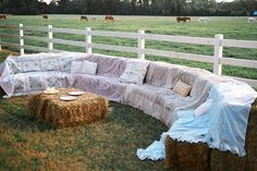 Sitting area for outside wedding