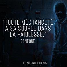 « Toute méchanceté a sa source dans la faiblesse. »  Sénèque