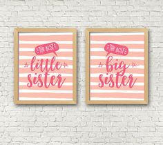 Sister Wall Art set of 2  Girls room decor  sisters room