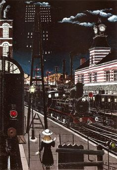 * Paul Delvaux - - - Night station 1 Rene Magritte, Art Optical, Optical Illusions, Nocturne, Paul Delvaux, Station 1, Train Art, Surrealism Painting, Vintage Travel Posters