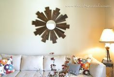 Need to cover a lot of wall space on a #budget? Check out this great #sunburst  #mirror #DIY. Use a brown #stain (like this dark chestnut) for a more #traditional look, or get #funky with some bright #color offerings from Product of the Year winner #Cabot #Premium #Wood Finish Stain + #Sealer.