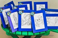 Love the idea of a framed coloring page as a birthday party take-home gift or activity. Add a cool charm to the frame or even let the kids decorate the frame too.