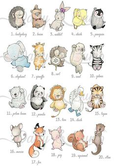 Idées animaux Baby Animal Drawings, Drawing Cartoon Animals, Cute Drawings Of Animals, Cartoon Baby Animals, Drawings For Boys, Cute Animals, Paintings For Nursery, Nursery Drawings, Nursery Artwork