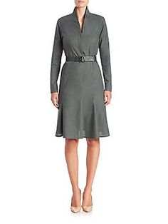 Akris Belted Cotton Voile Dress