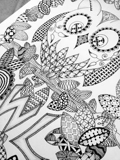 zentangle | Owl and Butterflies in Zentangle | Black Flower Creative