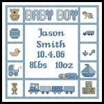 Baby Boy Sampler 1 - Cross Stitch Chart