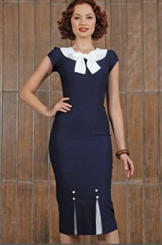 Stop Staring! First Class Navy Fitted Dress
