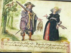 the same conversation painted in the album amicorum of  Johannes Hensel (1628), Det Kongelige Bibliotek, Copenhagen