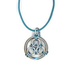 Blue and Silver Three Ring Chainmaile Pendant, Leather Cord Necklace #group2020 #lehane #handmade