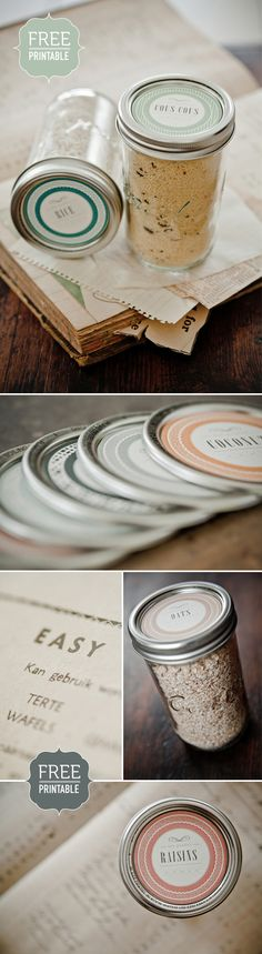 Free Printable Kitchen Labels. I use Mason Jars for everything, these will be cute on top