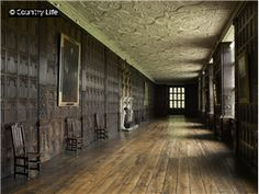 The 17th century long gallery with wood panelling and plasterwork at Aston Hall Birmingham West Midlands England.