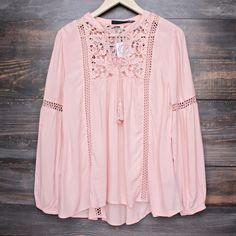 boho long sleeve peasant blouse with lace inset - dark salmon - shophearts - 1 Bohemian Mode, Bohemian Style, Boho Chic, Boho Fashion, Fashion Dresses, Womens Fashion, Fashion Design, Fashion Tips, Peasant Blouse