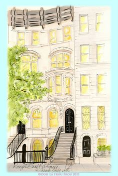 NYC Townhouse Illustration of one of the  fictional Illustrated City Girls from the Ooh La Frou Frou City Girls blog and card line by Illustrator Sandy M ~ http://oohlafroufrou.blogspot.com #Art #Illustration