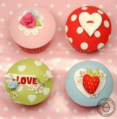 Cath Kidston Valentines Cupcakes - by YellowBeeCakeCompany @ CakesDecor.com - cake decorating website