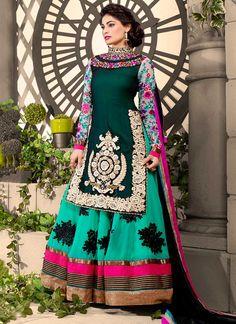 Green Puja Gupta Floor Length Anarkali Suit