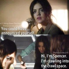 Pretty Little Liars fans we have some great treat for you . Here are some most funniest Humorous quotes from your favorite TV show, Enjoy em. Pretty Little Liars fans we have some great treat for Pll Quotes, Pll Memes, Life Quotes, Preety Little Liars, Pretty Little Liars Quotes, Best Tv Shows, Best Shows Ever, Favorite Tv Shows, Spencer Hastings