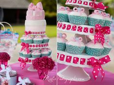 This is a cute idea with mini cake and cupcakes. You could change the colors to fit your wedding theme