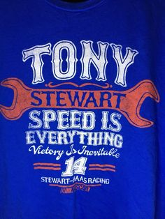NASCAR Tony Stewart 14 Speed Is Everything XL T Shirt Blue Tee  | eBay