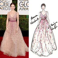 Golden Globe 2015 Anna Kendrick wore a dress by Monique Lhuillier gown.