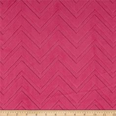"""This soft and cuddly fabric features an embossed chevron design. A two-tone color is depicted by the embossed design. The fabric is dyed a solid color with a """"high/low"""" pile. The design runs the width of the fabric, has a 5 mm pile, 450 grams, and is perfect for baby accessories, blankets, throws, pillows and stuffed animals."""
