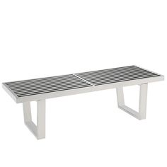 For a minimalist look, choose the Modway Sauna Stainless Steel Bench - Silver . The stainless steel construction features a transitional slatted. Contemporary Furniture, Modern Contemporary, Modern Saunas, Modern Bench, Furniture Deals, Accent Chairs, Accent Bench, Stainless Steel, Mid Century
