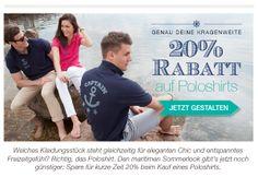 20% auf Poloshirts, nur heute und morgen. Gutscheincode: KRAGEN20 Gültig bis 15.05.2014 Jetzt gestalten auf: http://www.t-shirt-mit-druck.de/maenner-polo-hemd-bedrucken.htm