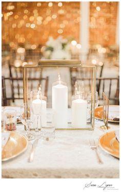 White Floral Center Piece Arrangements - Gold Wedding Decor - Sparkle Gold Disco Back Drop