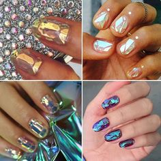 Ummmmmm the shattered glass nail trend is happening and I need someone to help me do this!!! It's like a fairytale on my fingers! #neednow