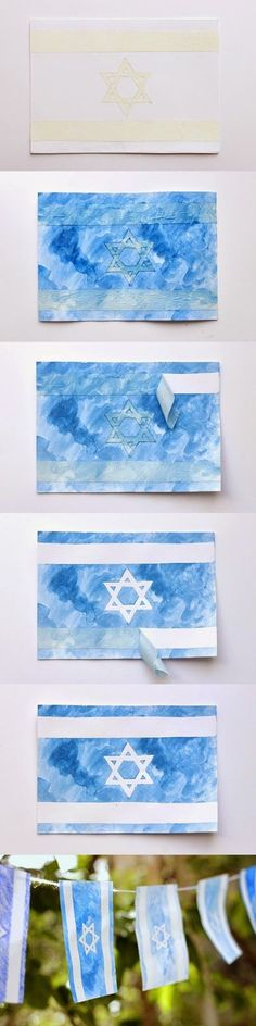 Simchat Torah flag craft for kids Hanukkah Crafts, Jewish Crafts, Jewish Art, Holiday Crafts, Hannukah, Jewish School, Hebrew School, Menorah, Kindergarten Sunday School