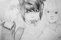 Desenho  feito a lápis 6B- Baseado no anime Death Note (Mello, L e Near)