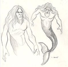 The Little Mermaid  Triton concept… looking a bit more like Tarzan, here.  Source: The Little Mermaid special edition DVD